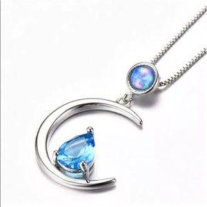 BRAND NEW .925 BLUE OPAL/SAPPHIRE CRESCENT MOON